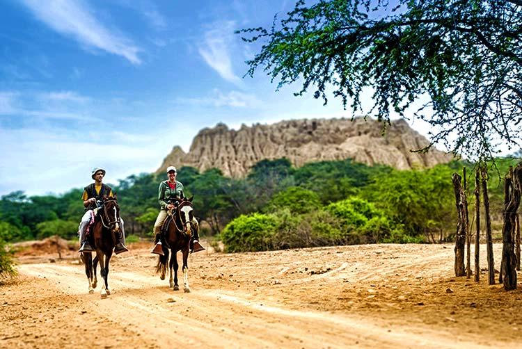 Montar caballo en el bosque de Pómac