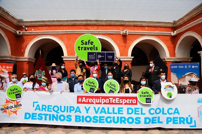 Evento de entrega del Sello Safe Travels en Arequipa